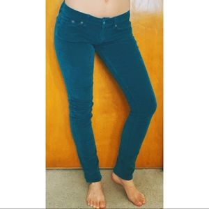 Lucky Brand Zoe Skinny Teal Corduroy Jeans